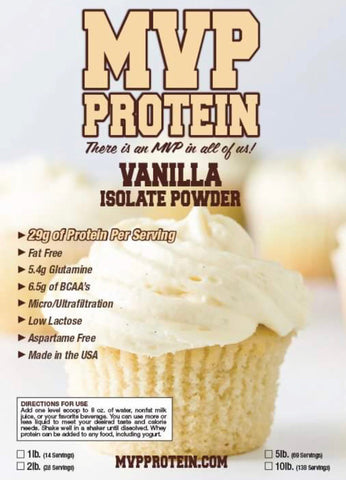 """MVP PROTEIN""  ""VANILLA"" Whey Isolate Protein Powder- 12 Single Serving Packs"