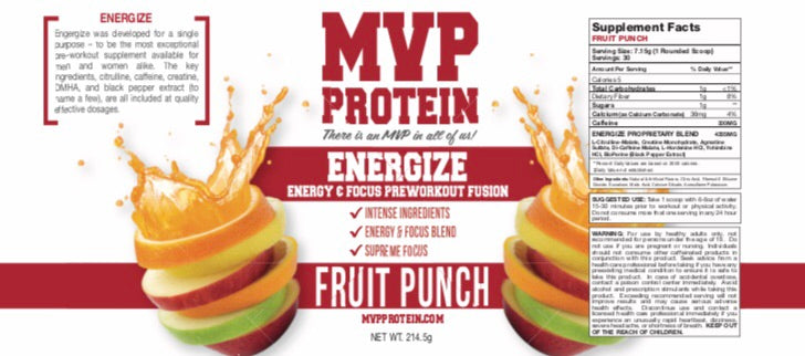 """MVP PROTEIN"" ""ENERGIZE"" PRE WORKOUT Fruit Punch Flavor Powder (30 Servings)"