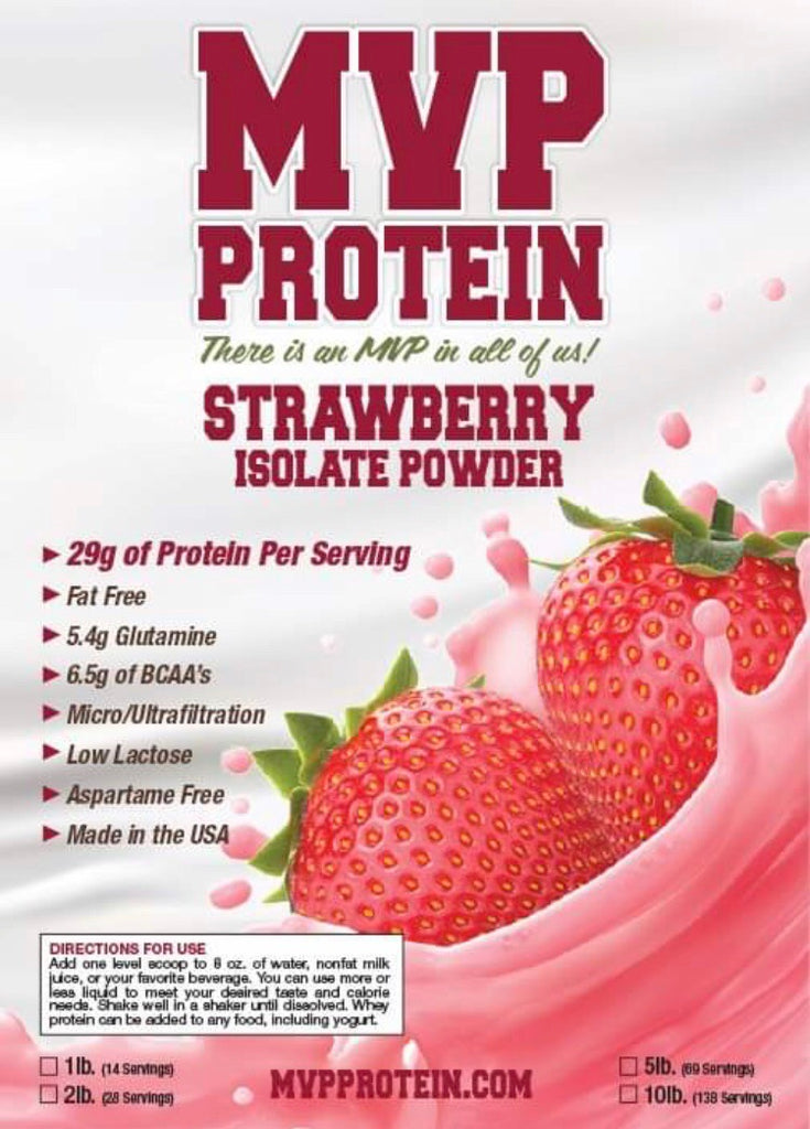 """MVP PROTEIN""  ""STRAWBERRY"" Whey Isolate Protein Powder- 2 Lbs. (28 Servings)"