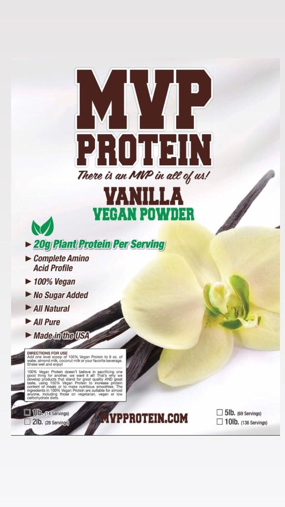 """MVP PROTEIN"" ""VEGAN VANILLA"" (Plant Based) Protein Powder 20g OF PROTEIN-5 Lbs. (69 Servings)"