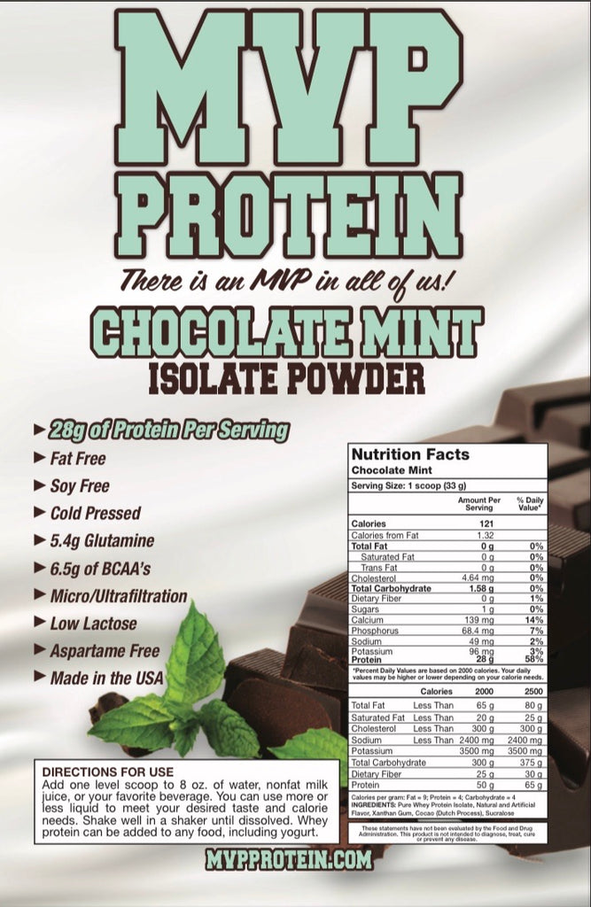 """MVP PROTEIN"" ""CHOCOLATE MINT"" Whey Isolate Protein Powder-1 Lb. (14 Servings)"