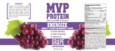 """MVP PROTEIN"" ""ENERGIZE"" PRE-WORKOUT ""GRAPE"" Flavor Powder (30 Servings)"