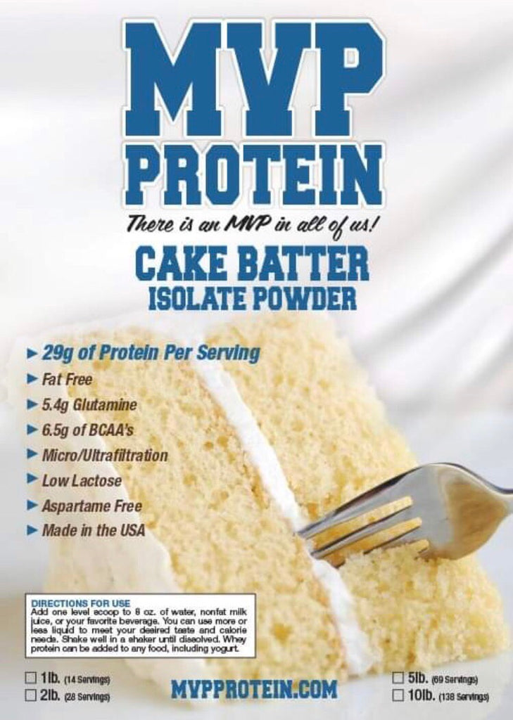 """MVP PROTEIN""  ""CAKE BATTER"" Whey Isolate Protein Powder- 2 Lbs. (28 Servings)"