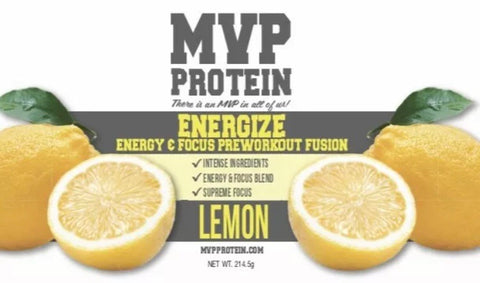 """MVP PROTEIN"" ""ENERGIZE"" PRE-WORKOUT ""LEMON"" Flavor Powder (30 Servings)"