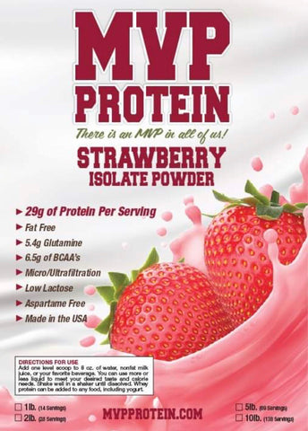 """MVP PROTEIN""  ""STRAWBERRY"" Whey Isolate Protein Powder- 12 Single Serving Packs"