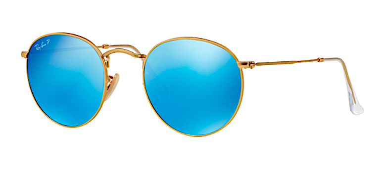 RAY BAN RB 3447 N GOLD WITH BLUE FLASH MIRROR LENS -  - Sunglasses - Sunglass Trend - 1