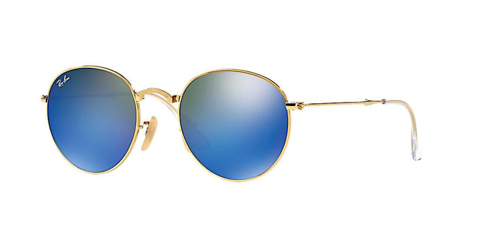 RAY BAN RB 3532 001/68 FOLDABLE GOLD WITH BLUE FLASH -  - Sunglasses - Sunglass Trend - 1