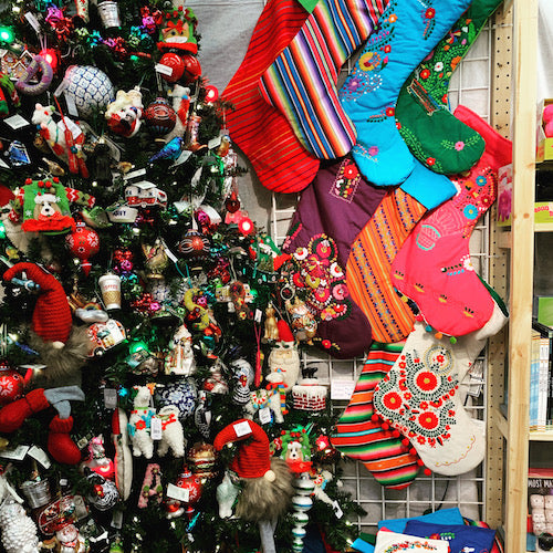 Mexican Christmas Stockings with Old World Christmas ornaments.