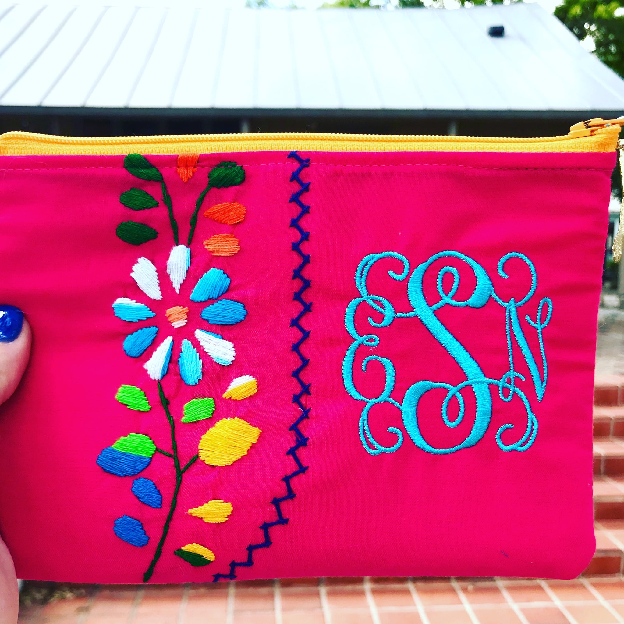 monogrammed mexican dress zip pouch