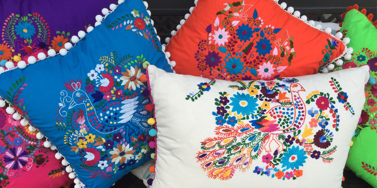 Bird and Pear Mexican Dress Pillows San Antonio