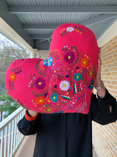 Mexican Dress Heart Pillow