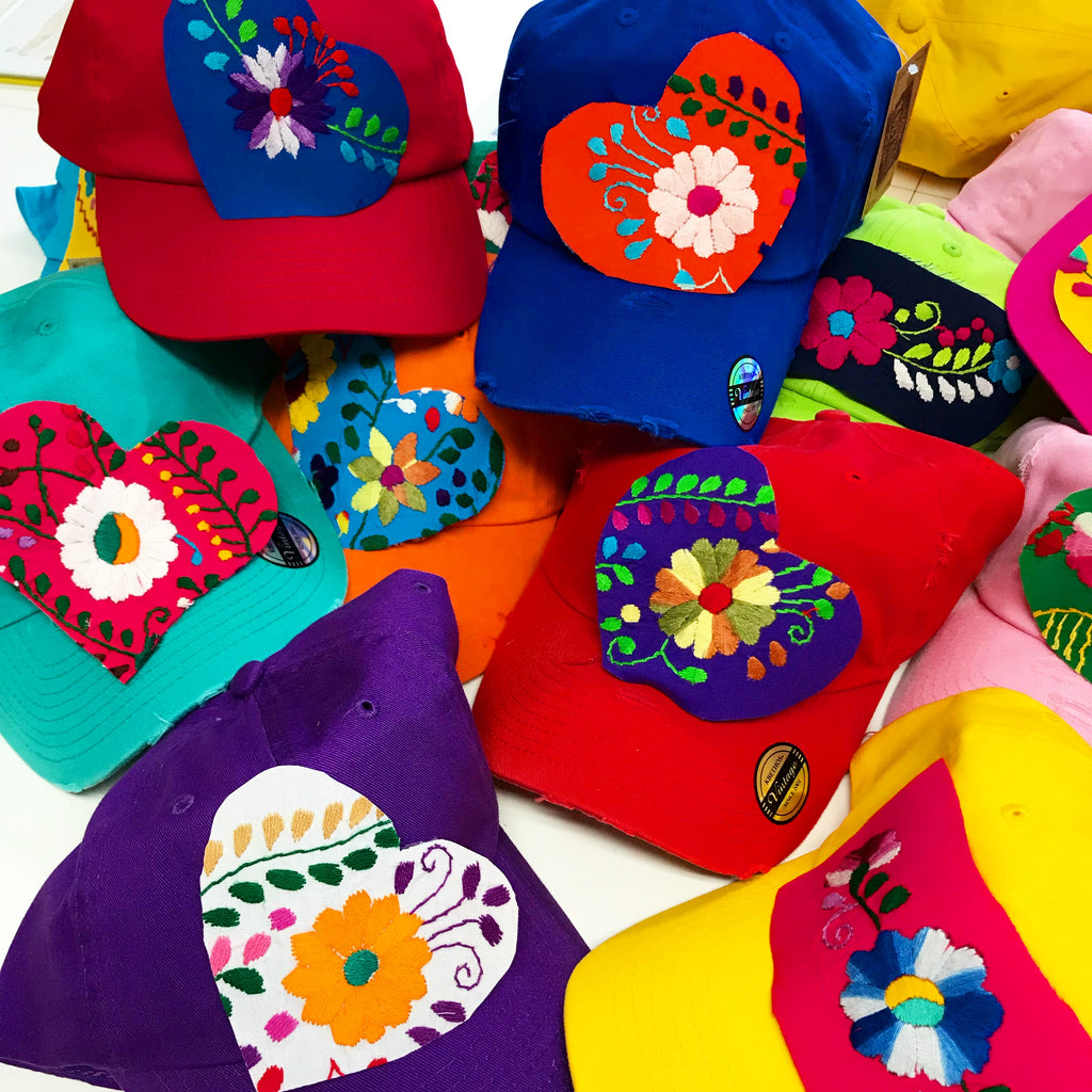 Ball Caps with Mexican Dress Hearts