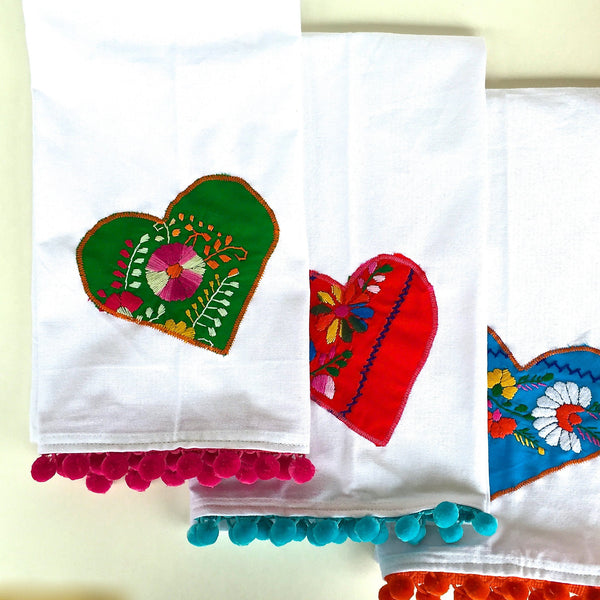 Cotton Tea Towels With Mexican Dress Hearts