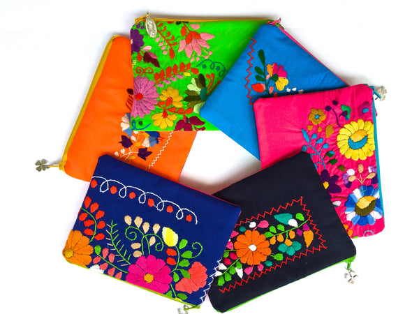 Embroidered Mexican Dress Zip Pouch