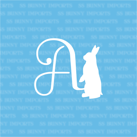 A is for alert bunny; monogram decal