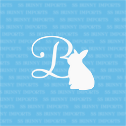 B is for baby bunny; monogram decal