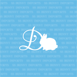 D is for dwarf bunny; monogram decal