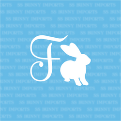 F is for Flemish Giant rabbit; monogram decal