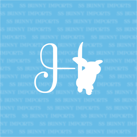 H is for helicopter bunny; monogram decal