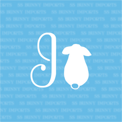 I is for ignoring bunny; monogram decal