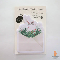 Rabbit sticky memo notes - bunny with berry wreath