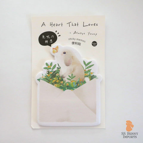 Rabbit sticky memo notes - lop bunny and butterfly