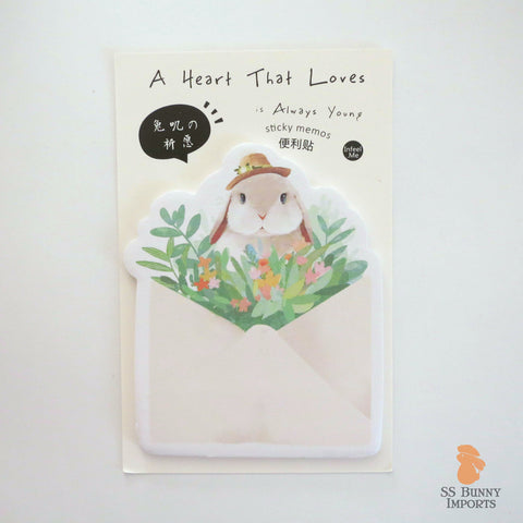 Rabbit sticky memo notes - lop bunny with flower hat