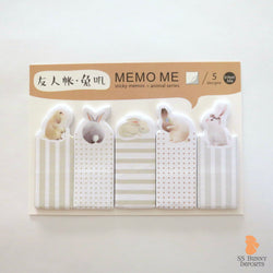 Rabbit sticky memo notes - watercolor bunny set