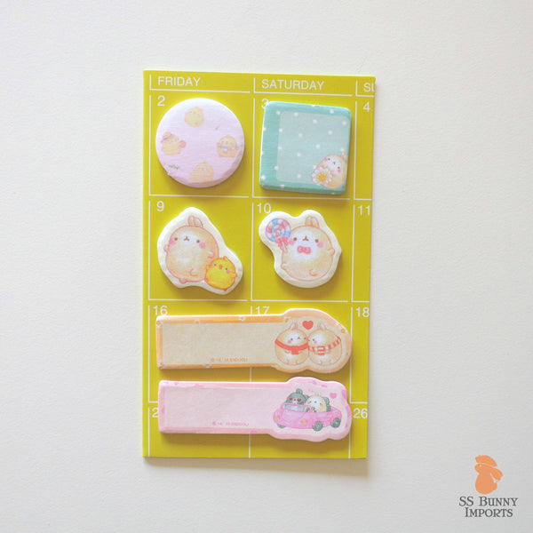 Rabbit sticky memo notes - potato bunny, yellow set