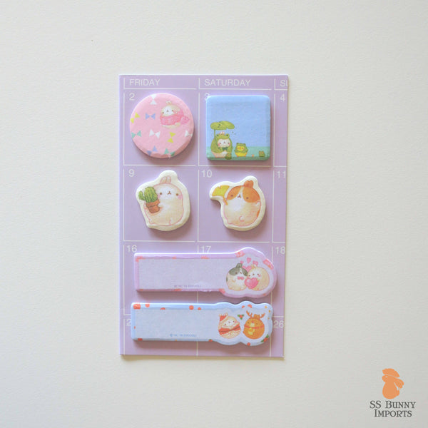 Rabbit sticky memo notes - potato bunny, purple set