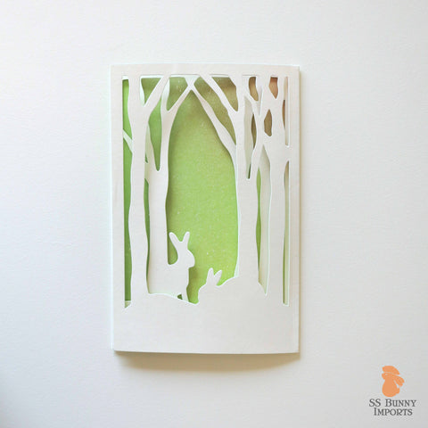 Folding rabbit greeting card - fantasy bunny forest