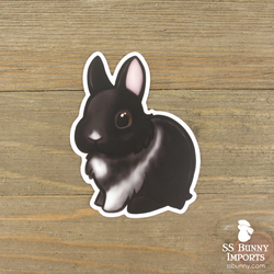 Black vienna-marked dwarf rabbit sticker, brown-eyed