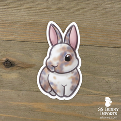 Tricolor blue/orange rabbit sticker