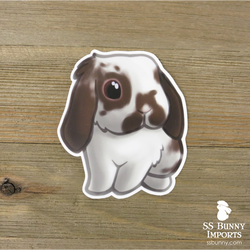 Broken chocolate lop rabbit sticker