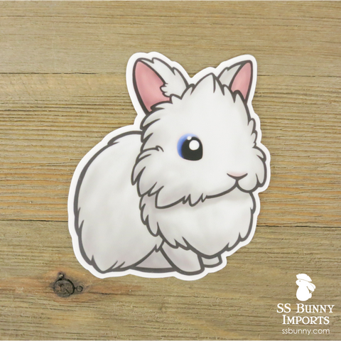 Blue-eyed white lionhead sticker