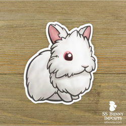Red-eyed white lionhead sticker