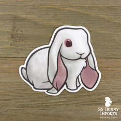 Red-eyed white English Lop rabbit sticker