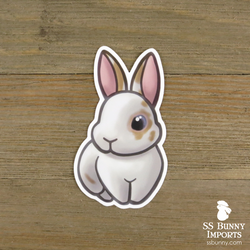 Broken cream rabbit sticker