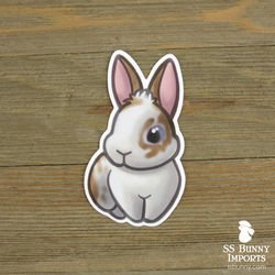 Broken orange rabbit sticker -- fluff, blue-eyed