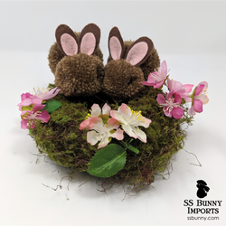 Chocolate pom pom bunny wreath - 8""