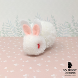 Ruby-eyed white pom pom bunny