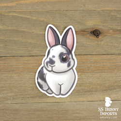 Broken blue rabbit sticker - brown-eyed