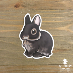 Black otter dwarf bunny sticker