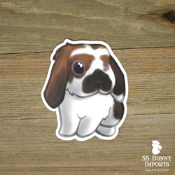 Broken chocolate tort lop (white tip) rabbit sticker