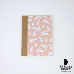 Pink bunny with bow blank journal
