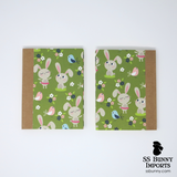 Green field bunny and bird blank journal
