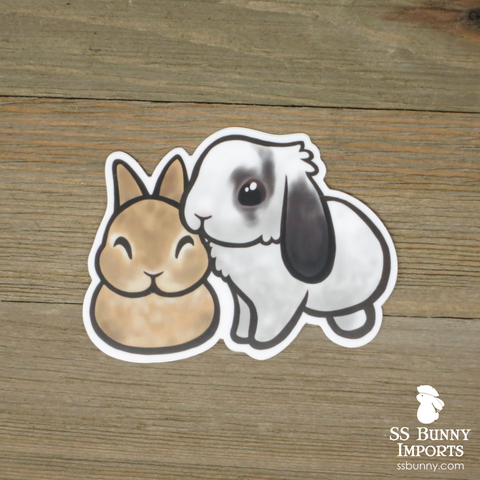 Bonded dwarf and lop bunnies sticker -- lilac agouti, broken agouti