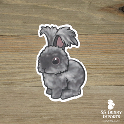 Black puppy-cut angora rabbit sticker