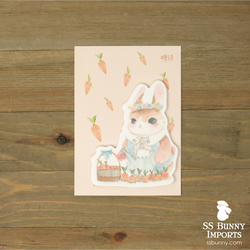 Rabbit sticky memo notes - Rabbit and carrot basket