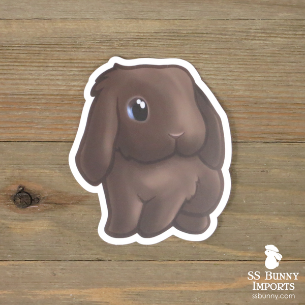 Chocolate lop sticker - blue/brown-eyed